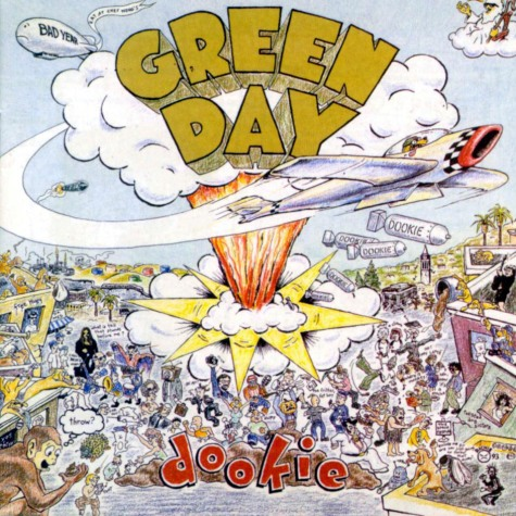 Cover art for Green Day's 1994 album, Dookie, depicting what it will do to your brain when played for any duration