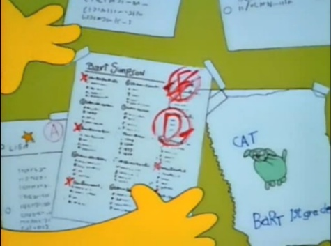 Homer proudly puts Bart's D- history test on the fridge.